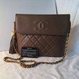 Chanel Brown Quilted Leather Shoulder Bag